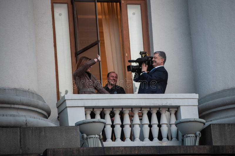 Poroshenko  thanked Ukrainians who came to thank him and support him royalty free stock image