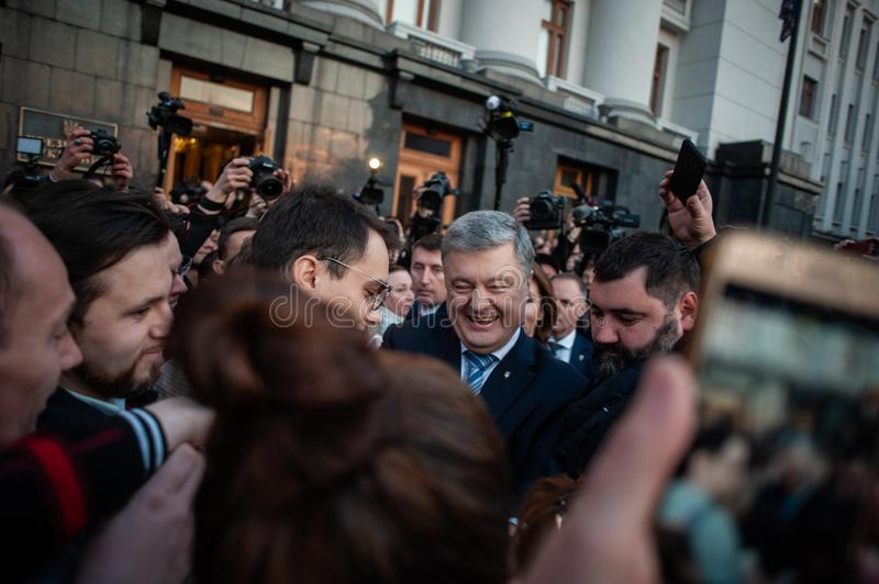 Poroshenko  thanked Ukrainians who came to thank him and support him stock photos