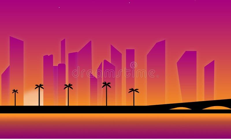 Porpora Backgroung dell'illustrazione di alba di tramonto della città illustrazione vettoriale