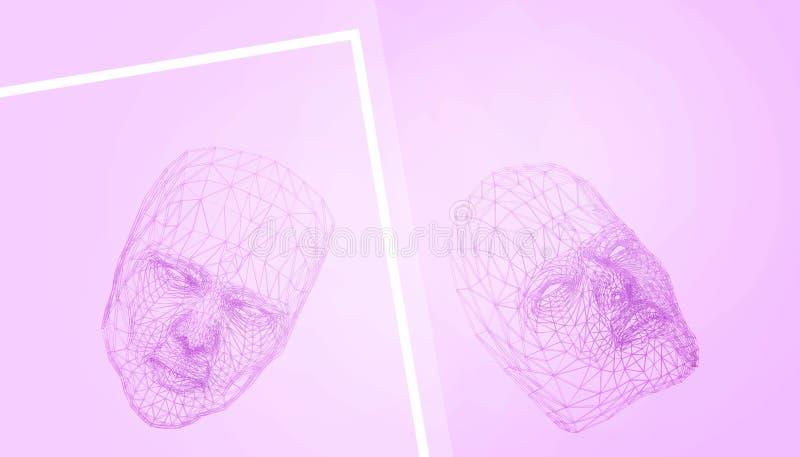 Porpora di rimorchio della maschera - minimo di disegno di ispirazione poli sul fondo porpora minimo e pastello di arte moderna illustrazione vettoriale