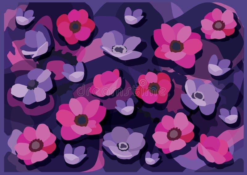 Porpora di rosa del fiore e progettazione blu porpora del fondo illustrazione di stock