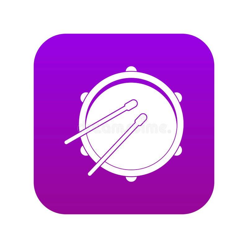 Porpora digitale dell'icona del tamburo illustrazione di stock