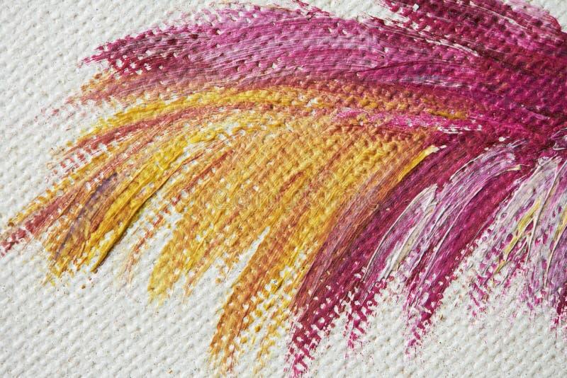 Porpora e colpi gialli della pittura della spazzola immagini stock