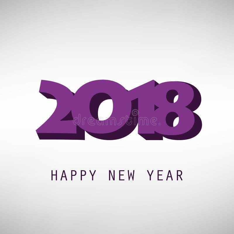 Porpora e modello semplice di progettazione di Grey New Year Card, della copertura o del fondo - 2018 illustrazione di stock