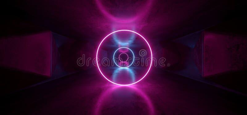 Porpora futuristica luminosa lussuosa fluorescente d'ardore al neon delle luci del cerchio di Sci Fi di ultravioletto cosmico vib illustrazione vettoriale