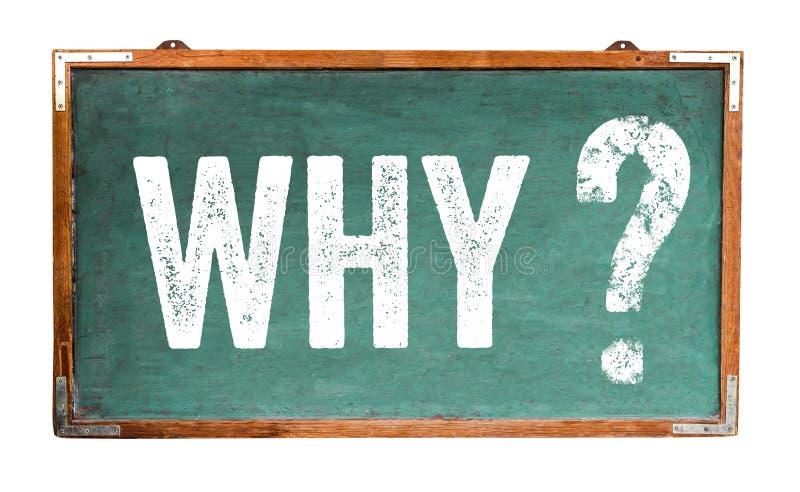 Porqué texto del signo de interrogación en una pizarra de madera ancha del viejo vintage sucio verde o una pizarra retra con el m fotografía de archivo