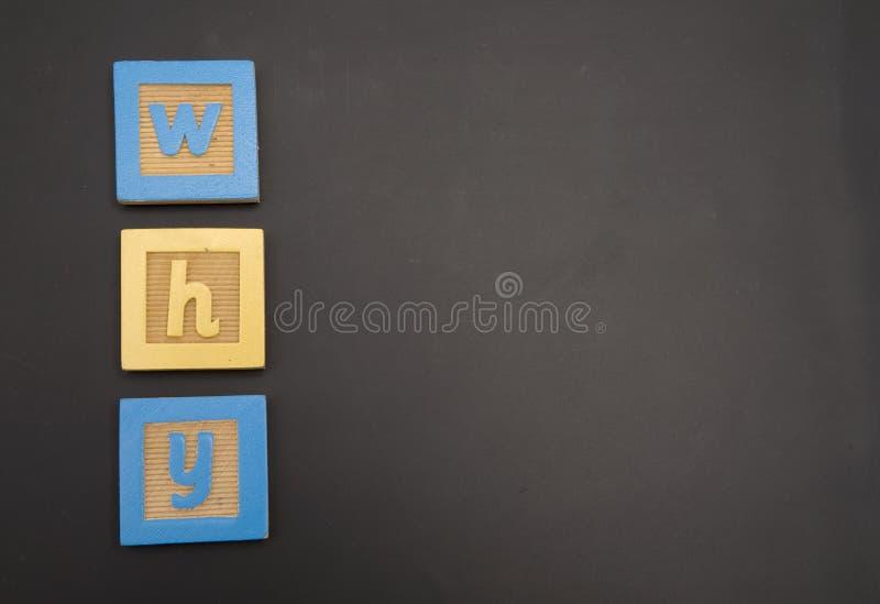 PORQUÉ writtin en tarjeta de tiza imágenes de archivo libres de regalías