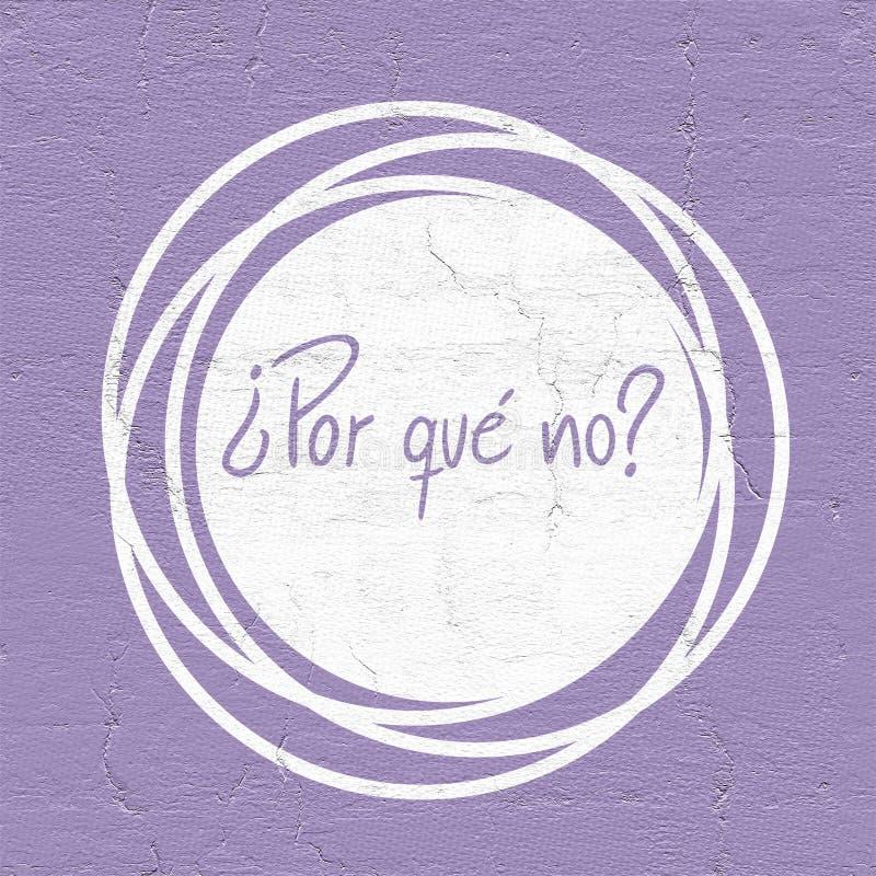 Porque não mensagem na língua espanhola ilustração stock