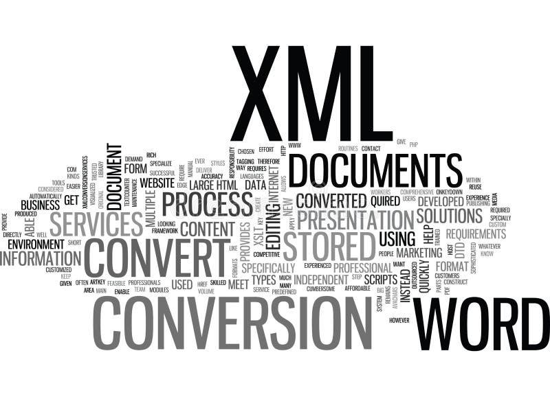 Porque o processo do converso na palavra a Xml documenta a nuvem da palavra ilustração do vetor
