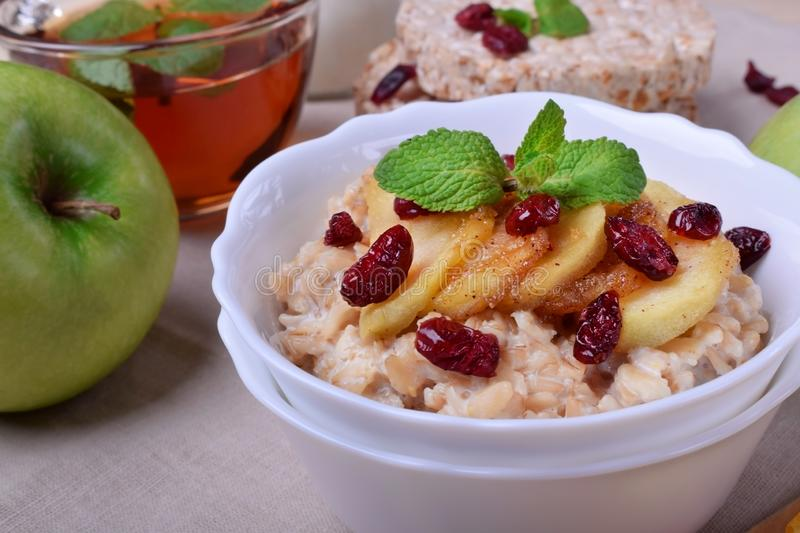 Porridge with caramelized apples and dried cranberries topped with mint. Surrounded by breakfast ingredients royalty free stock photography