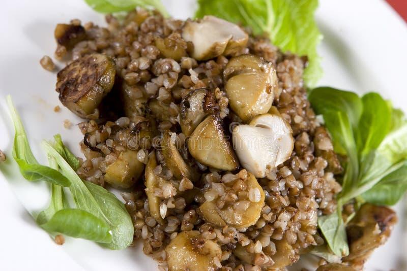 Porridge con i funghi sulla zolla fotografia stock