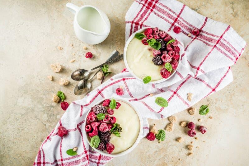 Porridge del semolino con le bacche fresche immagine stock libera da diritti