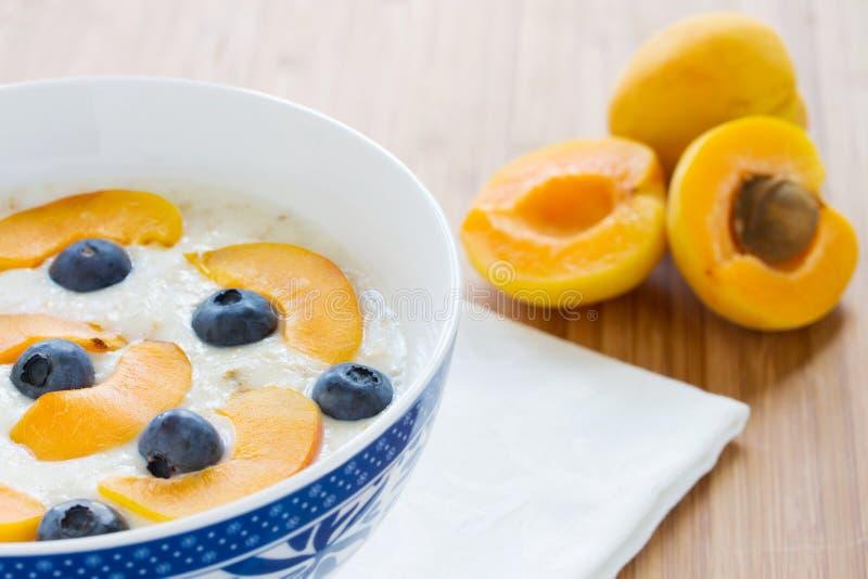 Porridge della farina d'avena con le bacche e le albicocche fresche fotografia stock libera da diritti