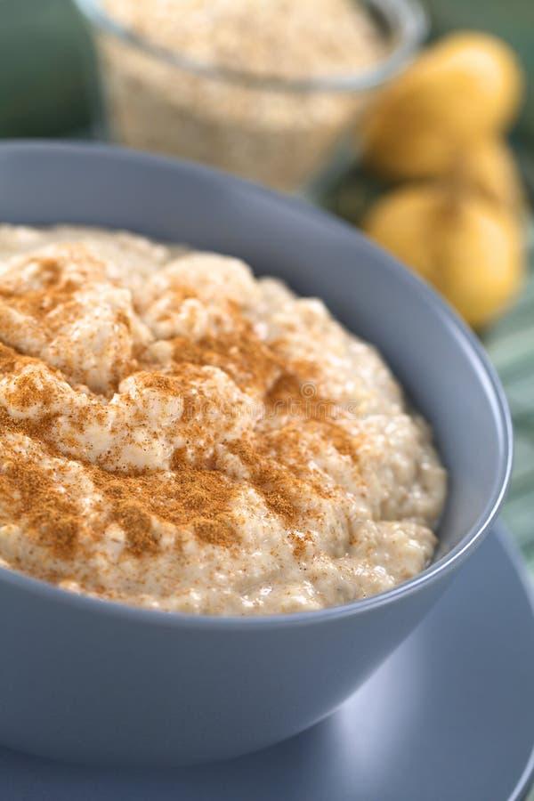 Porridge della farina d'avena-Maca con cannella fotografia stock libera da diritti
