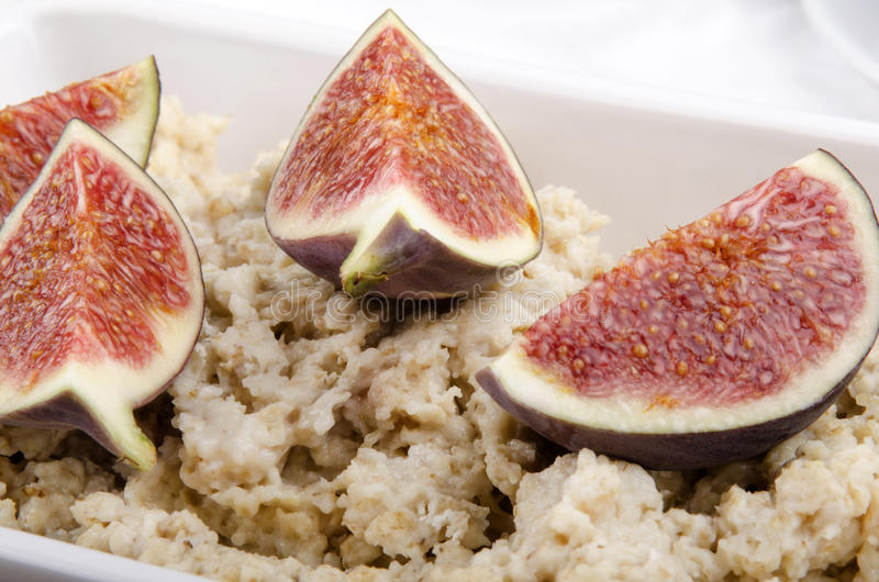 Download Porridge With Fig In A White Bowl Stock Image - Image of dieting, vegetarian: 27075891