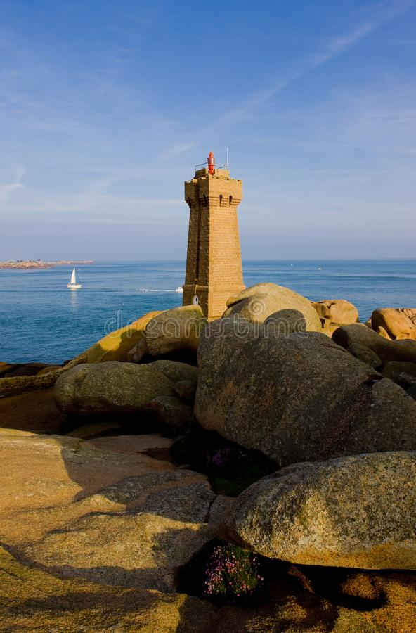 Pors Kamor lighthouse, Ploumanac& x27;h, Brittany, France. Outdoor, outdoors, outside, exterior, exteriors, europe, western, bretagne, dpartement, cotes royalty free stock images