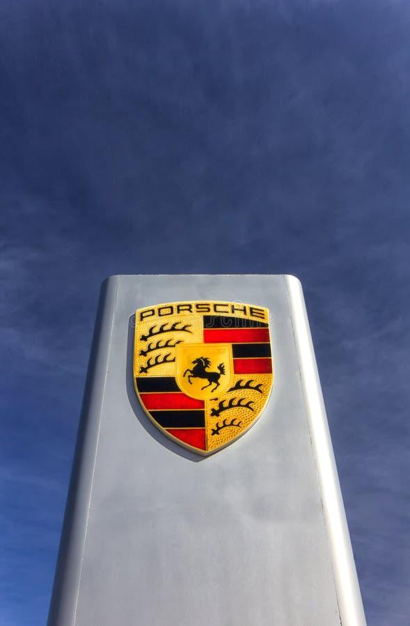 Porsche-Automobil-Verkaufsstelle-Zeichen lizenzfreie stockbilder