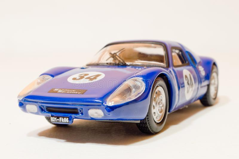 1:43 Porsche 904. A blue 1:43 car, a die cast model of a Porsche 904. This model was very popular sportscar in the 60s royalty free stock photo
