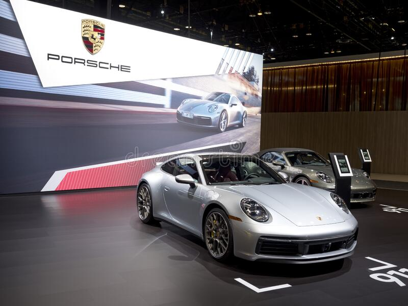 Porsche Carrera 911 at the annual International Auto-show royalty free stock photos