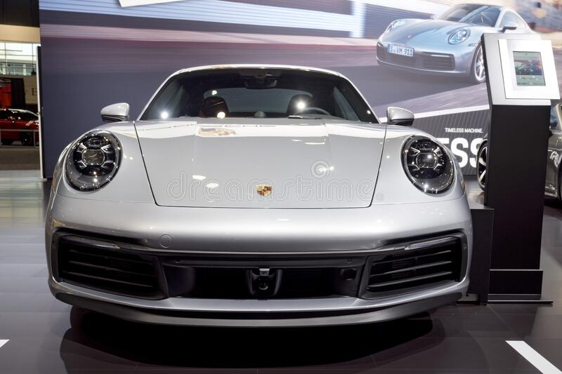 Porsche Carrera 911 at the annual International Auto-show royalty free stock photo