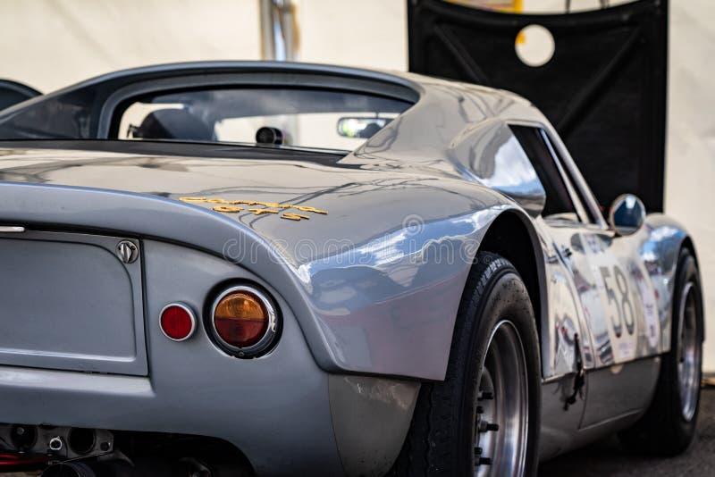Porsche carrera gts rocznik w montjuic spirytusowego Barcelona obwodu samochodowym przedstawieniu zdjęcia stock