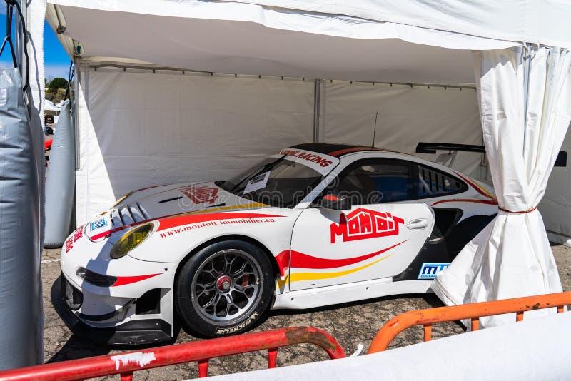 Porsche 911 in der montjuic Geist Barcelona-Stromkreisautoshow lizenzfreies stockbild