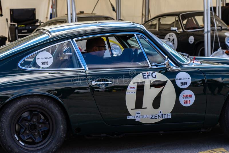 Porsche 911 in der montjuic Geist Barcelona-Stromkreisautoshow stockfotos