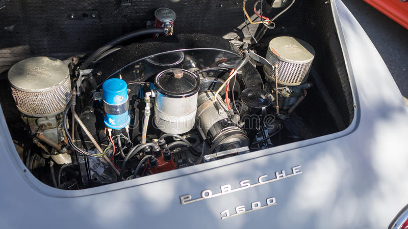 Porsche 1600 engine. The engine of a classic Porsche 1600 car on display during the 2015 Cooly Rocks On festival in Coolangatta in Australia royalty free stock photography