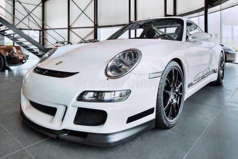 Porsche 911 GT3, laglig racerbil för gata som är populär för spårdagar på strömkretsar, Turnhout, Belgien royaltyfria bilder
