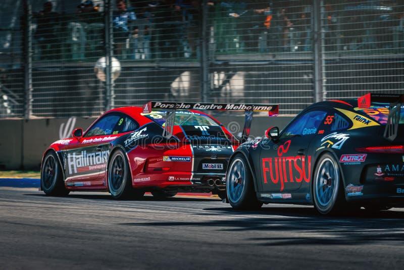 Porsche GT3 racing cars stock photo