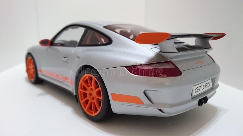 Porsche GT3 RS sports car silver orange rims stock photos