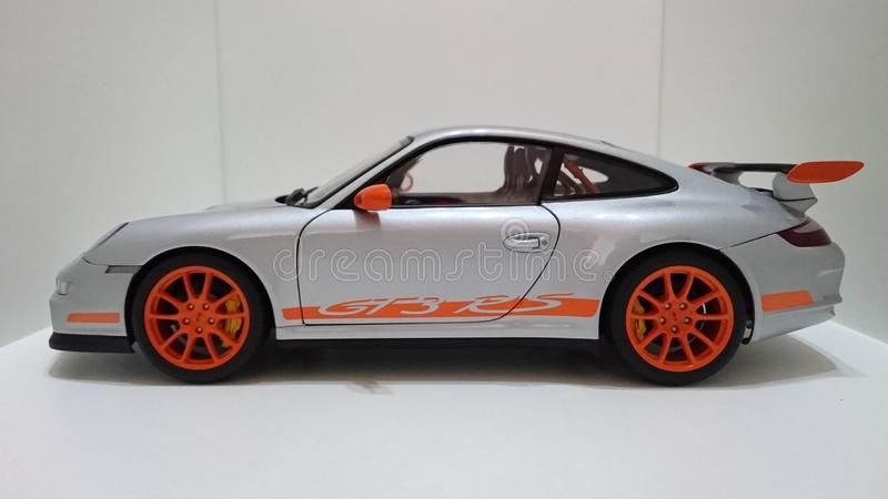 Porsche GT RS Sports Car Silver Orange Rims Editorial Photography - Powerful sports cars