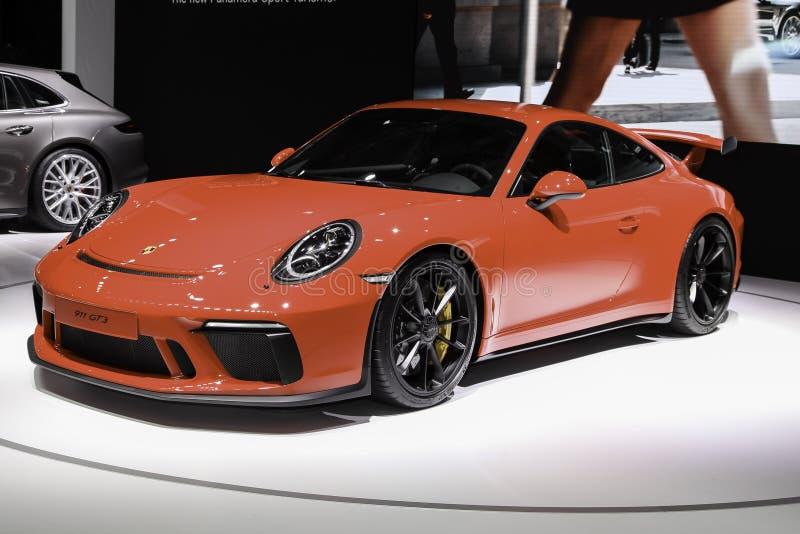 Porsche 911 GT3 som visas på New York den internationella auto showen 20 royaltyfri foto