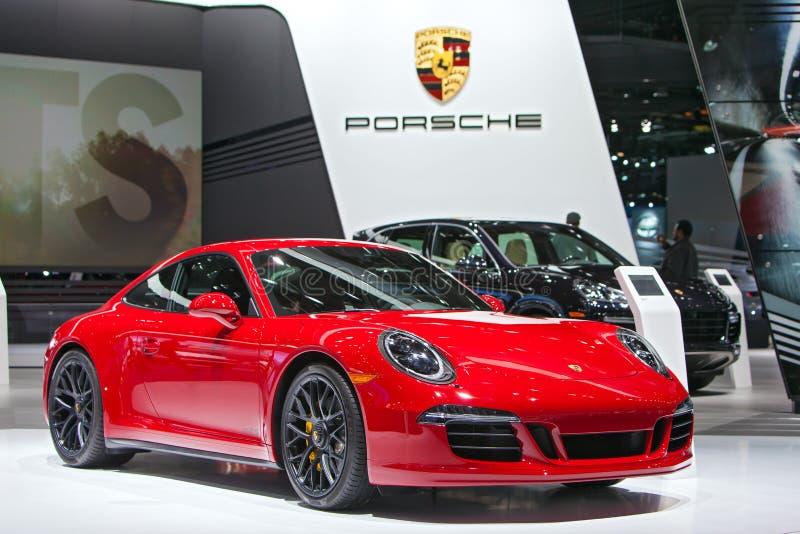 Porsche 911 GTS Detroit auto show 2015 royaltyfria foton
