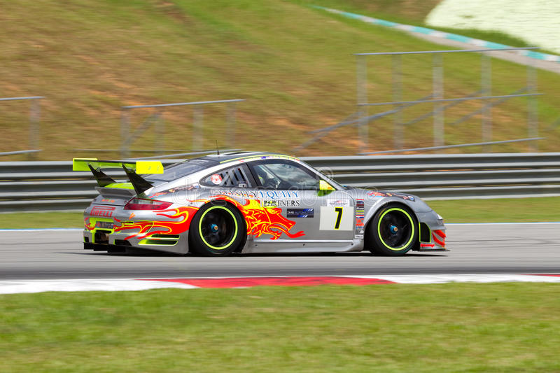 Porsche-Klumpen Laufendes Merdeka Ausdauerrennen Malaysi Redaktionelles Stockfotografie