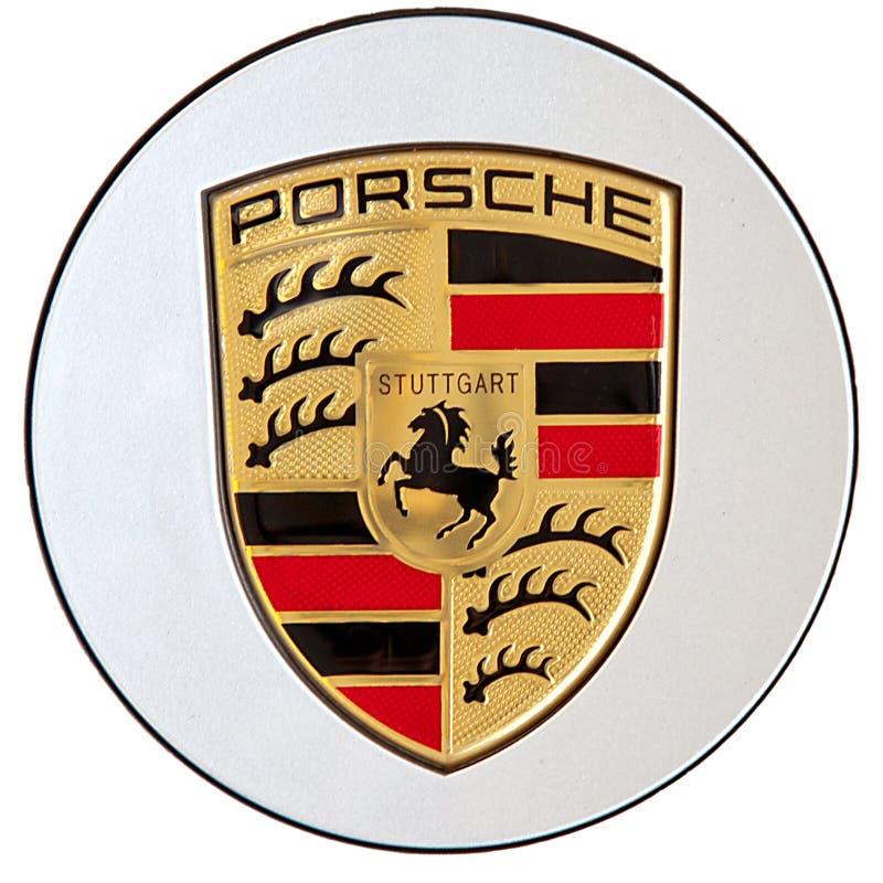 Porsche logo. On white backgrounds, Stuttgart, Germany