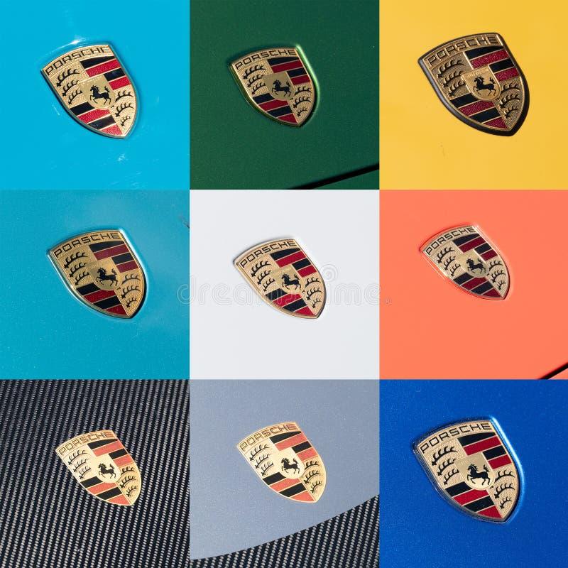Porsche Logo Close Up em um carro preto com gotas da chuva Ferdinand Porsche fundou a empresa em 1931 com escritórios principais  imagens de stock royalty free