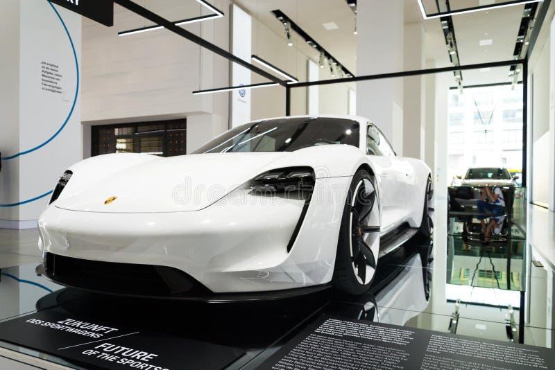 Porsche Mission E concept study car standing at Volkswagen Group forum Drive stock image
