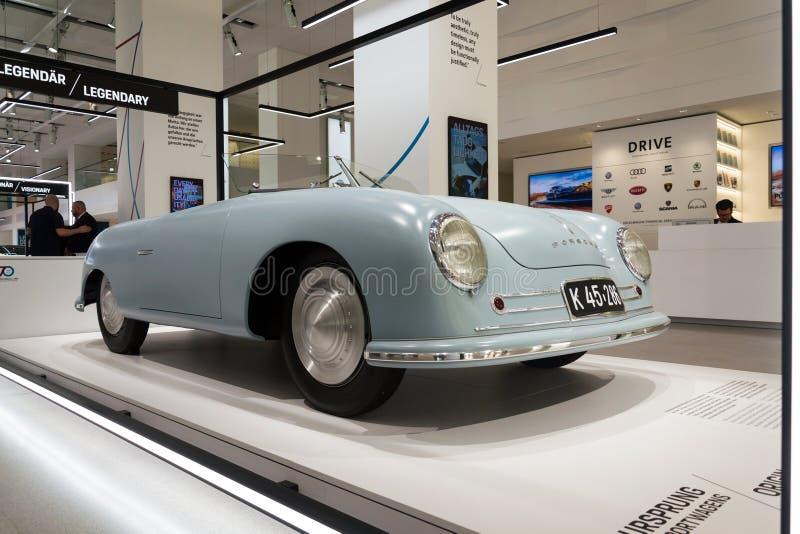 Porsche 356 nr. 1 roadster replica standing at Volkswagen Group forum Drive in Berlin, Germany. BERLIN, GERMANY - APRIL 15 2018: Porsche 356 nr. 1 roadster royalty free stock photos
