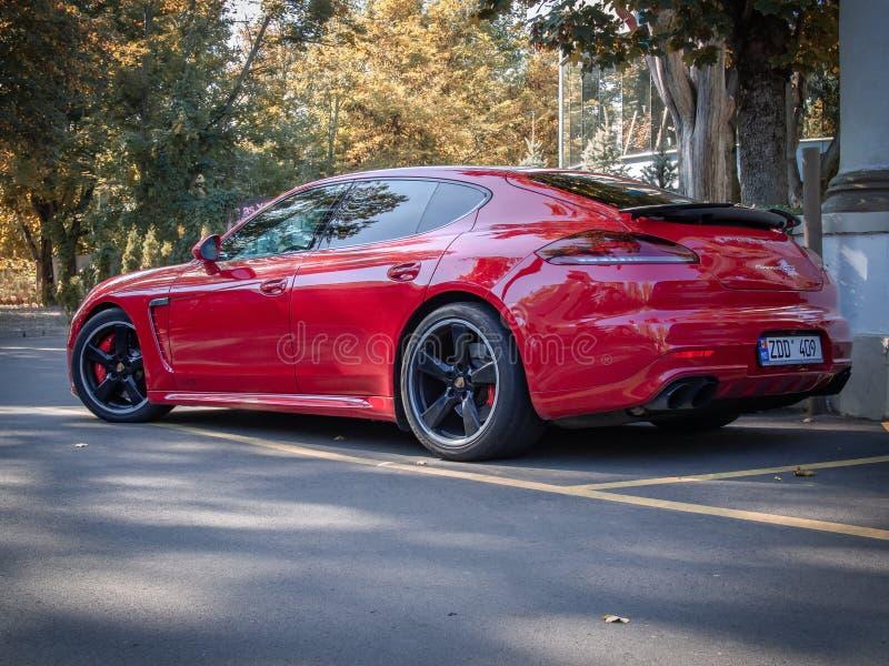 Porsche Panamera GTS. CHISINAU, MOLDOVA-OCTOBER 2, 2018: Porsche Panamera GTS at the City streets royalty free stock photos