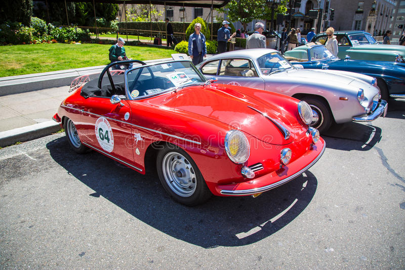 1960 Porsche 356 Roadster. SAN FRANCISCO - APRIL 26: A 1960 Porsche 356 Roadster is on display during the 2015 California Mille show in Nob Hill in San Francisco stock images