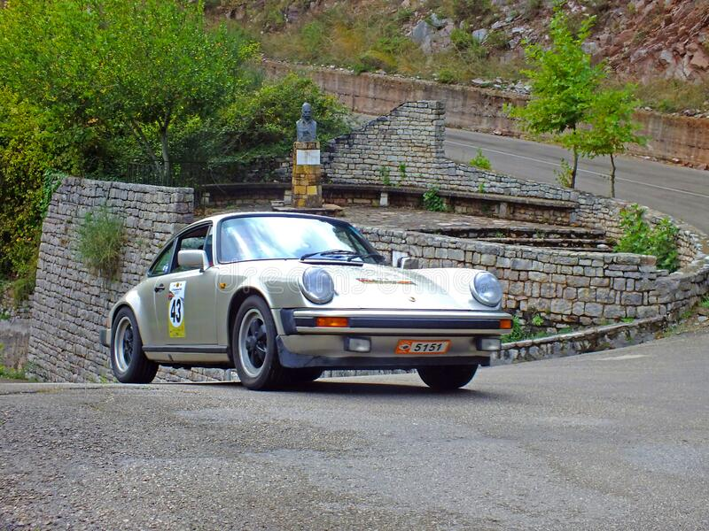 PORSCHE 911S - 1980. EVRYTANIA, GREECE, SEPTEMBER 26, 2014. Classic car Porsche 911S, made in Germany in 1980, participating in the 43rd International Rally of stock image