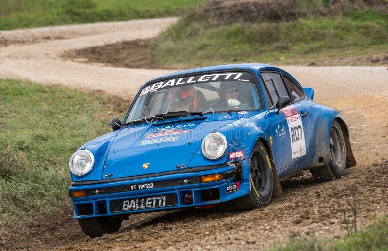 Porsche 911 sc  rally car on race stock image