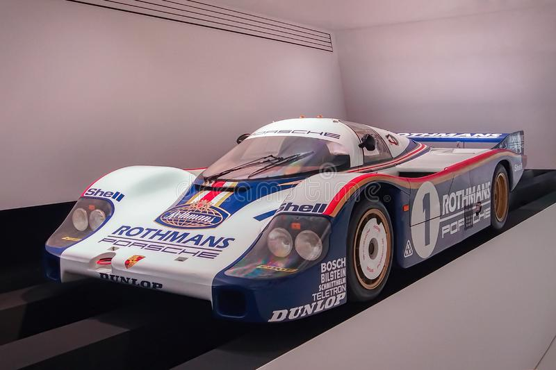 Porsche 956. STUTTGART, GERMANY-APRIL 7, 2017: 1982 Porsche 956 in the Porsche Museum. This car holds the all-time record for the fastest vehicle ever to lap the stock photo