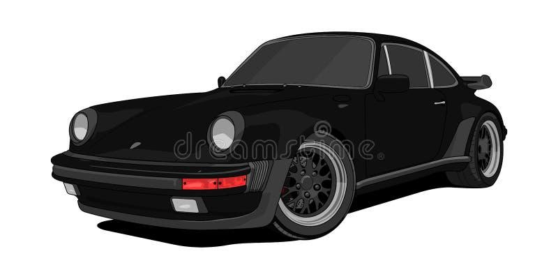 Porsche 911 Turbo czerni wersja w wektorze ilustracja wektor