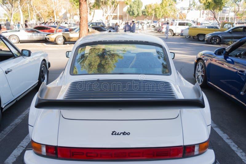 Porsche 911 Turbo on display. Woodland Hills, USA - November 1, 2015: Porsche 911 Turbo on display at the Supercar Sunday event stock photography