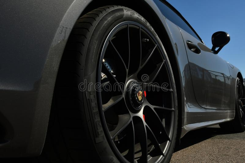 Porsche wheel. Wheel from porsche perspective taken with wide angle camera royalty free stock images