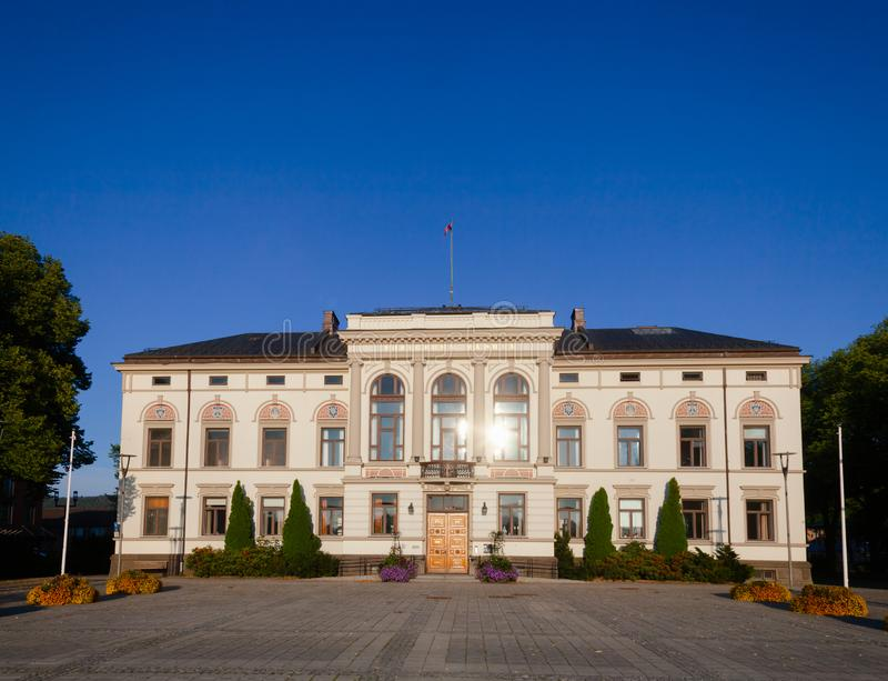 Porsgrunn City Hall Telemark Norway Scandinavia. Neo-Renaissance with elements of Art Nouveau building of Porsgrunn City Hall, Porsgrunn city and municipality in royalty free stock photos