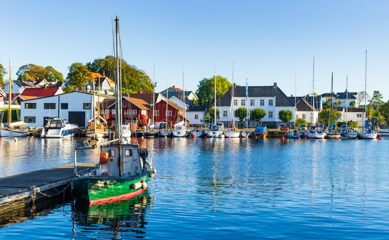 Local sea port in Norway. Porsgrunn, Telemark, Norway- SEP 17, 2017: Local sea port for travel and recreation in Brevik village, Porsgrunn, Norway royalty free stock photo