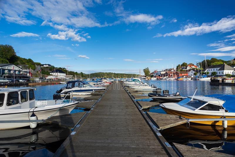 Local sea port in Norway. Porsgrunn, Telemark, Norway- SEP 17, 2017: Local sea port for travel and recreation in Brevik village, Porsgrunn, Norway stock images